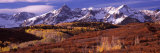 Mountains Covered with Snow and Fall Colors  Near Telluride  Colorado  USA