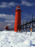 Lighthouse on a Snow Covered Coast  Grand Haven South Pierhead Lighthouse  Ottawa County  Michigan