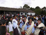 Indian Women Dancing at Private San Juan Feast  Hacienda Zuleta  Otavalo  Ecuador