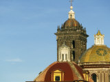 Domes and Baroque Bell Tower of Puebla Cathedral Built in 1575Ad