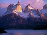 Paine Massif at Dawn  Seen across Lago Pehoe  Torres Del Paine National Park  Chile