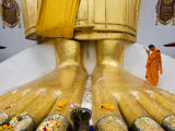 Thailand  Wat Indrawiharn  Monk Praying at Giant Buddha's Feet  Bangkok