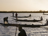 Niger Inland Delta  at Dusk  Bozo Fishermen Fish with Nets in the Niger River Just North of Mopti