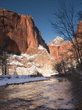 Utah  Zion National Park  Landscape by the North Fork Virgin River  Winter  USA