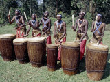 Intore Drummer Plays at Butare In the Days of Monarchy in Rwanda