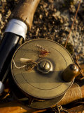 Traditional Brass Fishing Reel Fitted to a Split-Cane Fly Rod with Trout Fishing Flies  UK