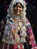 Akha Woman with Silver Headdress and Necklace Embellished with Glass Beads  Burma  Myanmar