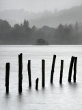 Remains of Jetty in the Mist  Derwentwater  Cumbria  England  UK