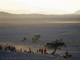 Scene at a Maasai Manyatta  or Homestead  at Dawn in an Arid Part of Northern Tanzania
