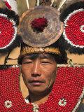 Myanmar  Naga New Year Festival  Naga Man  Taungkul Tribe Wearing Traditional Headdress