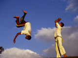 Two Boys Practice Capoeira  the Brazilian Martial Art