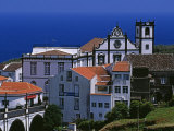 Church Tower Dominates the Town of Nordeste on the Island of Sao Miguel  Azores
