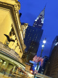 New York City  Manhattan  Grand Central Station and the Chrysler Building Illuminated at Dusk  USA