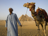 Camel Driver Stands in Front of the Pyramids at Giza  Egypt