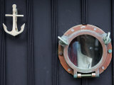 Door of Fisherman's Cottage - Anchor for Door Knocker and Ship's Porthole for a Peephole  Cornwall
