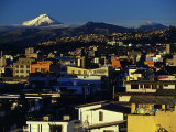 Sunrise on the City and Cotapaxi Volcano  Quito  Ecuador