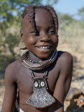Young Himba Girl  Her Body Lightly Smeared with Mixture of Red Ochre  Butterfat and Herbs  Namibia