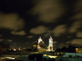 Puebla Cathedral's Illuminated Towers Rise Above the Historic Centre of the City at Night