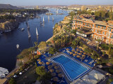 Aswan in Late Afternoon  Old Cataract Hotel in front  Where Agatha Christie Wrote Death  Nile