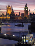 Big Ben and the Houses of Parliament Seen across the River Thames from Waterloo Bridge at Sunset