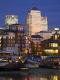 London  Tower Hamlets  Limehouse Basin with Canary Wharf Buildings in Background  England