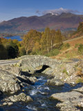 Ashness Bridge and Skiddaw Mountain Range  Lake District  Cumbria  England