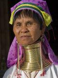 Padaung Woman of Karen Sub-Tribe Wearing Brass Necklace Which Elongates the Neck  Burma  Myanmar