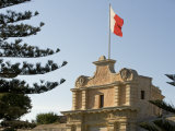 Mdina  the Maltese Flag Flies over the Entrance to the Medieval Walled City of Mdina  Malta