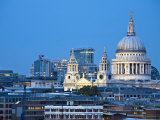 London  City Skyline Looking Towards St Paul's Cathedral at Twilight  England