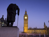 Winston Churchill Statue  Big Ben  Houses of Parliamant  London  England