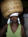 Sao Tomense Woman Carries Basket Full of Cocoa Beans  Cocoa Processing Plant in Agua Ize  Sao Tome