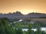 Snake River Overlook and Teton Mountain Range  Grand Teton National Park  Wyoming  USA