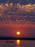 Lower Zambesi National Park  Canoeing on the Zambezi River at Sun Rise under a Mackerel Sky  Zambia