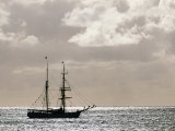 Sailing Ship Anchored in Front of Hanga Roa  Easter Island&#39;s Main Settlement