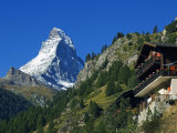 Colourful Mountain Chalet in the Shadow of the Matterhorn  Zermatt  Valais  Switzerland