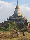 Bagan  the Ancient Buddhist Stupa of Shwesandaw on the Central Plain of Bagan  Myanmar  Burma