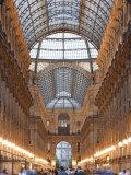 Lombardy  Milan  Galleria Vittorio Emanuele Ii  Shopping Arcade  Interior  Evening  Italy