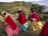 Aymara Women Dance and Spin in Festival of San Andres Celebration  Isla Del Sol  Bolivia