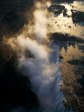 Aerial View of Zambezi River as it Plummets over the Victoria Falls