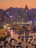 Hong Kong  Hong Kong Island  Causeway Bay View across Harbour to Victoria Peak  China