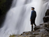 Hiker Enjoys Fergusson Falls on the Overland Track  Tasmania