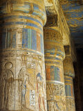 Painted Sunken Relief Carving Adorns Columns in the Mortuary Temple of Ramses Iii on the West Bank