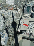 Cn Tower at 533 M or 1 815 Ft High  Canada's Wonder of World  Casting Shadow over Downtown Toronto