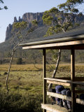 Backpacks Lined Up on the Balcony of New Pelion Hut on the Overland Track