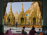 Burma  Yangon  Devout Buddhists Pray at the Shwedagon Golden Temple  Myanmar