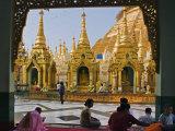 Burma  Yangon  Devout Buddhists Pray at the Shwedagon Golden Temple  Myanmar