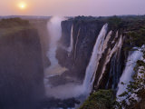 Sunset over Magnificent Victoria Falls  One of Natural Wonders of World