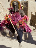 Dogon Country  Tereli  A Masked Dancer Leaps High in the Air at the Dogon Village of Tereli  Mali