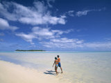 Couple on a Beach  Aitutaki  Cook Islands