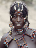Young Afar Girl at Senbete Market  Her Elaborate Hairstyle and Beaded Jewellery